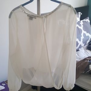 Tops - Sheer white blouse w/silver neck line. Size M